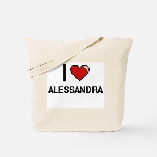 I Love Alessandra Digital Retro Design Tote Bag