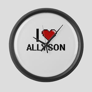 I Love Allyson Digital Retro Desi Large Wall Clock
