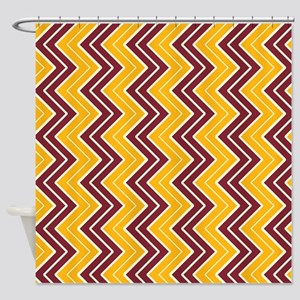Burgundy And Gold Vertical Chevron Shower Curtain