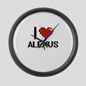I Love Alexus Digital Retro Desig Large Wall Clock