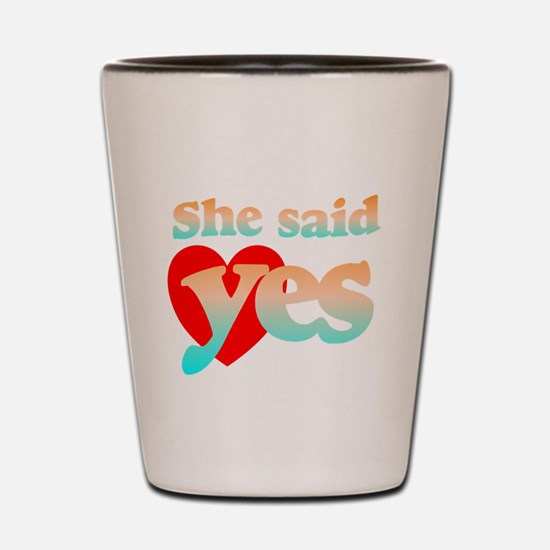 cute engagement 2 Shot Glass