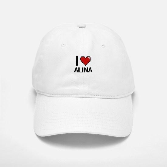 I Love Alina Digital Retro Design Baseball Baseball Cap