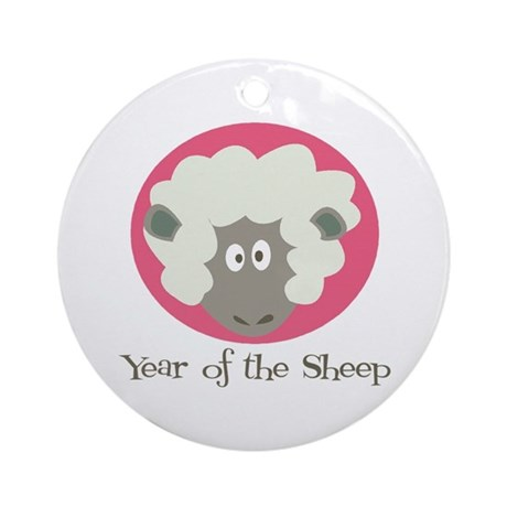 Cartoon Year of the Sheep Ornament (Round)