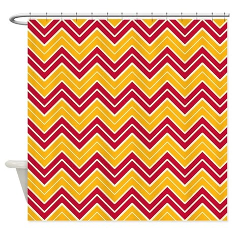 Red And Gold Chevron Shower Curtain