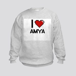 I Love Amya Digital Retro Design Kids Sweatshirt