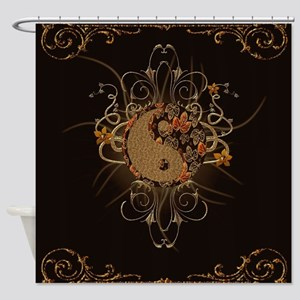 The sign ying and yang with floral elements Shower