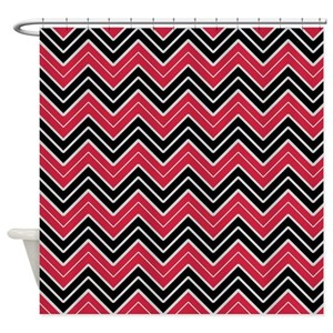 Red And Black Chevron Shower Curtains - CafePress