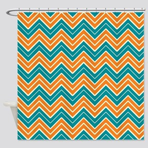 orange chevron shower curtain. Aqua And Orange Chevron Shower Curtain And Curtains  CafePress