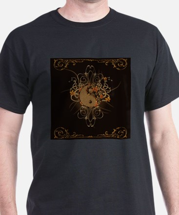 The sign ying and yang with floral elements T-Shir