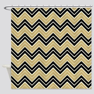 Black And Gold Chevron Shower Curtain