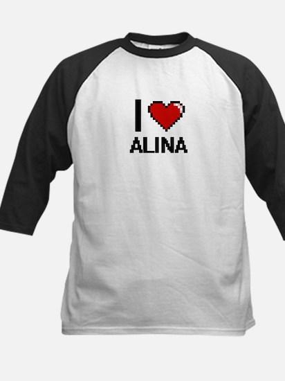 I Love Alina Digital Retro Design Baseball Jersey