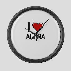 I Love Alivia Digital Retro Desig Large Wall Clock