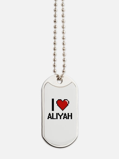I Love Aliyah Digital Retro Design Dog Tags