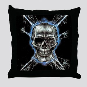 Electric Skull and Crossbones Throw Pillow