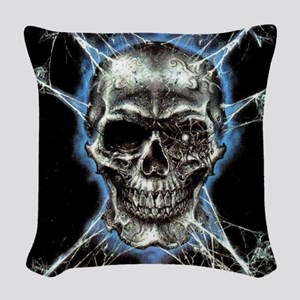 Electric Skull and Crossbones Woven Throw Pillow
