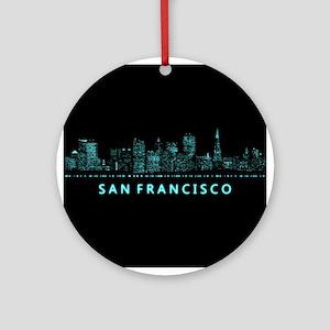 Digital Cityscape: San Francisco, C Round Ornament