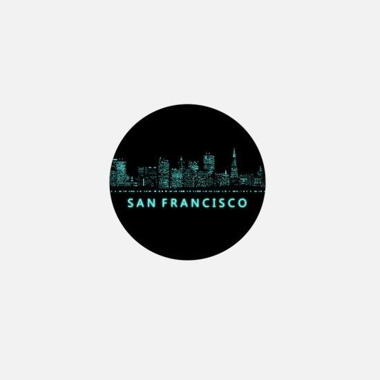 Digital Cityscape: San Francisco, Cali Mini Button
