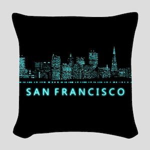 Digital Cityscape: San Francis Woven Throw Pillow