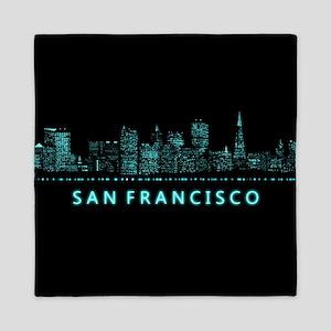 Digital Cityscape: San Francisco, Cali Queen Duvet