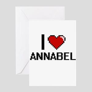 I Love Annabel Digital Retro Design Greeting Cards