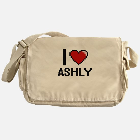 I Love Ashly Digital Retro Design Messenger Bag