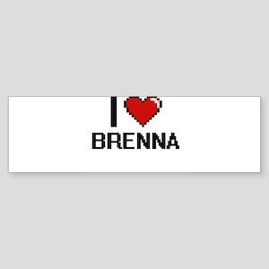 I Love Brenna Digital Retro Design Bumper Sticker