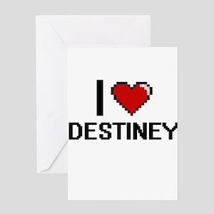 I Love Destiney Digital Retro Desig Greeting Cards