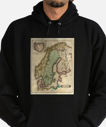 Vintage Map of Norway and Sweden (18 Hoodie (dark)