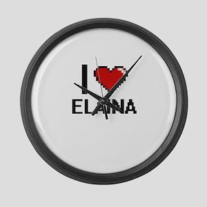 I Love Elaina Digital Retro Desig Large Wall Clock