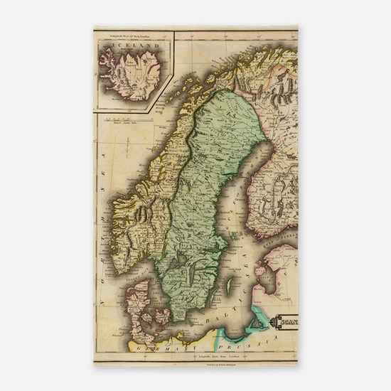 Vintage Map of Norway and Sweden (1831) Area Rug
