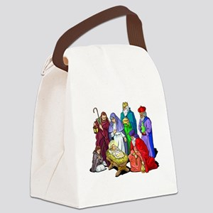 Colorful Christmas Nativity Scene Canvas Lunch Bag
