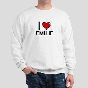 I Love Emilie Digital Retro Design Sweatshirt