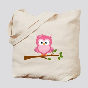 Pink Owl on a Branch Tote Bag
