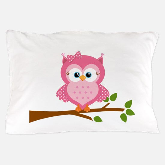 Pink Owl on a Branch Pillow Case