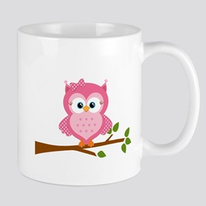 Pink Owl on a Branch Mugs
