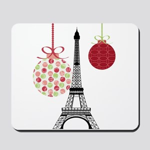 Merry Christmas Eiffel Tower Ornaments Mousepad