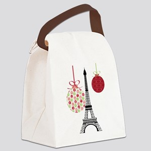 Merry Christmas Eiffel Tower Ornaments Canvas Lunc