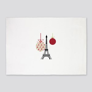 Merry Christmas Eiffel Tower Ornaments 5'x7'Area R