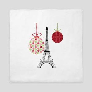 Merry Christmas Eiffel Tower Ornaments Queen Duvet