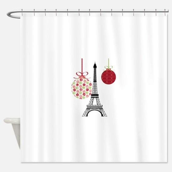 Merry Christmas Eiffel Tower Ornaments Shower Curt