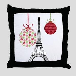 Merry Christmas Eiffel Tower Ornaments Throw Pillo