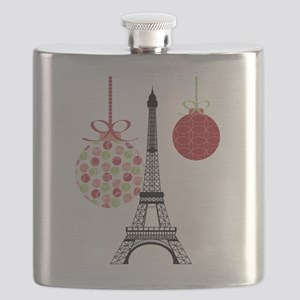 Merry Christmas Eiffel Tower Ornaments Flask