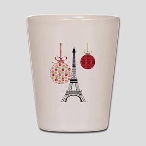 Merry Christmas Eiffel Tower Ornaments Shot Glass