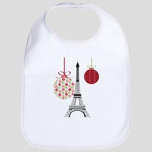 Merry Christmas Eiffel Tower Ornaments Bib