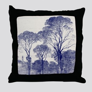 Ancient Tree Sketches in Indigo Throw Pillow