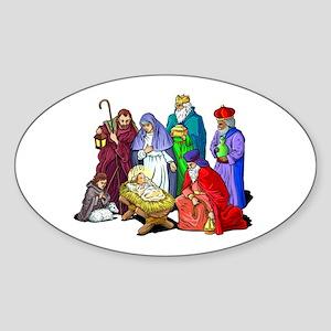 Colorful Christmas Nativity Scene Sticker
