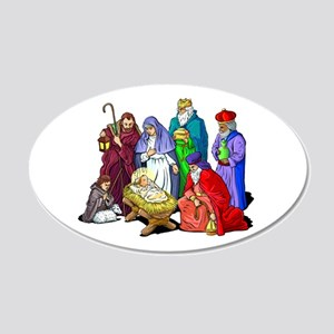 Colorful Christmas Nativity 20x12 Oval Wall Decal