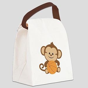 Basketball Monkey Canvas Lunch Bag