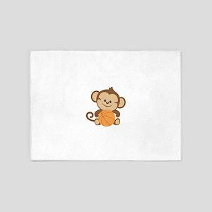 Basketball Monkey 5'x7'Area Rug