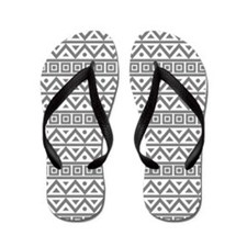 Cool Grey Pattern Flip Flops